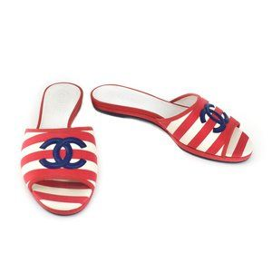 "CHANEL: Red/White Stripe & ""CC"" Logo, Flat Sandals"